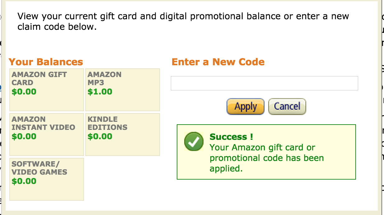 Check/Redeem your Amazon Gift Cards and Promotional Codes!